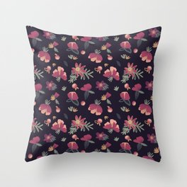Poppies and Clover Night Throw Pillow