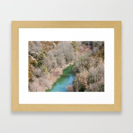 Blue river in French mountains Framed Art Print