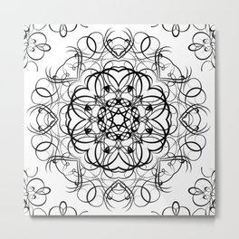 DEEP BLACK AND WHITE KALEIDOSCOPE Metal Print