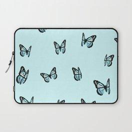 Pastel Blue Butterfly Pattern Laptop Sleeve