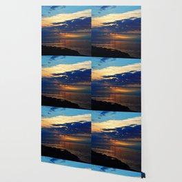 Blazing Sunset under Blue Sky Wallpaper