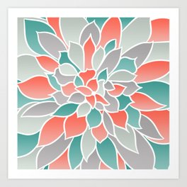 Floral Prints, Coral, Teal and Gray, Art for Walls Art Print