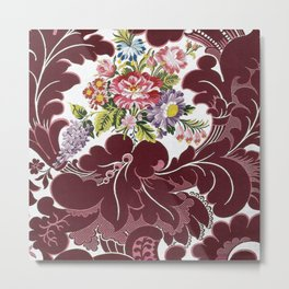 William Morris Textile Red Poppy, Calla Lily, Lilacs, & Dahlia Blossom tapestry  Metal Print