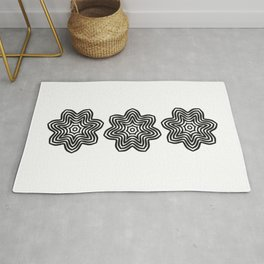 Three Black Concentric Flowers Rug
