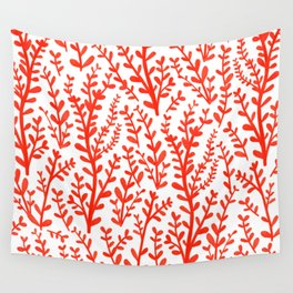 Red and White Floral Gouache Pattern Wall Tapestry