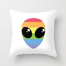 RAINBOW ALIEN Throw Pillow