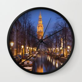 Church and a canal in Amsterdam at night Wall Clock