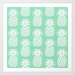 Retro Mid Century Modern Pineapple Pattern Mint Green 2 Art Print