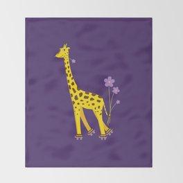 Funny Giraffe Roller Skating Throw Blanket