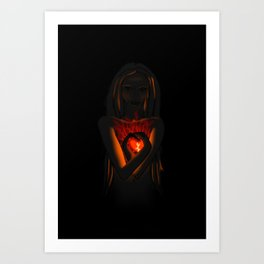 Beautiful Woman With Glowing Healing Heart Art Print