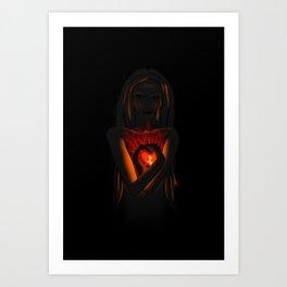 Beautiful Woman With Glowing Healing Heart Art Print