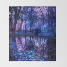 Enchanted Forest Lake Purple Blue Throw Blanket