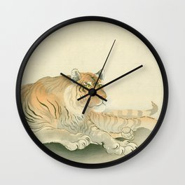 Koson Ohara - Reclining Tiger - Japanese Vintage Ukiyo-e Woodblock Painting Wall Clock