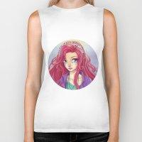 redhead Biker Tanks featuring Cute Redhead by Elisa Ellie Serio