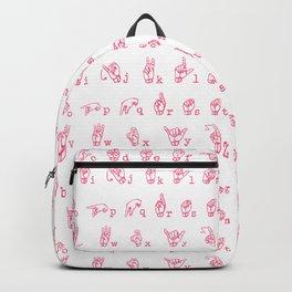 ASL Alphabet // Pink Backpack