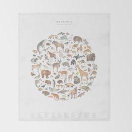 100 animals Throw Blanket