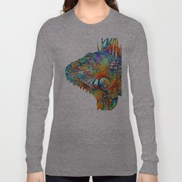 Colorful Iguana Art - One Cool Dude - Sharon Cummings Long Sleeve T-shirt
