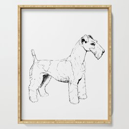 Wire Haired Fox Terrier Ink Drawing Serving Tray