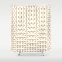 French Pattern Repeating Diamonds Gold Shower Curtain