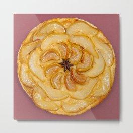 Tarte Tatin, French tart or cake on claret background Metal Print