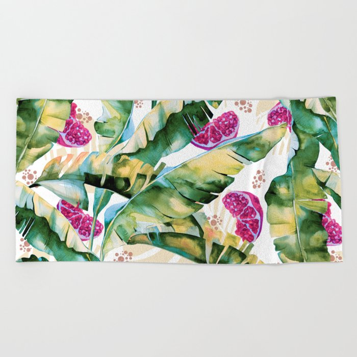 Banana leaf & Pomegranate II Beach Towel
