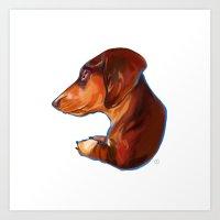 dachshund Art Prints featuring Dachshund by Kendra Aldrich