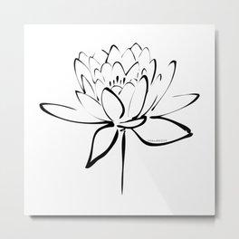Lotus Blossom Calligraphy Black Metal Print