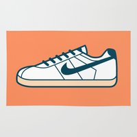 nike Area & Throw Rugs featuring #55 Nike Cortez by Brownjames Prints