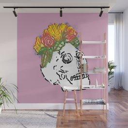 SKULL & FLOWERS - PINK Wall Mural