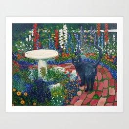 Black Cat On The Brick Road Art Print