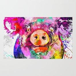 Pig Watercolor Grunge Rug