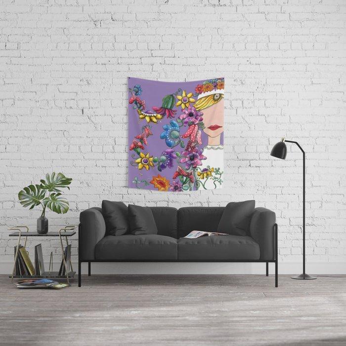 I Love the Flower Girl Lavender Wall Tapestry