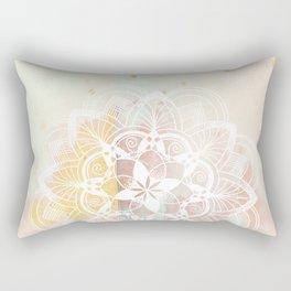 Lotus white mandala on pink Rectangular Pillow