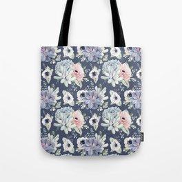 Beautiful Succulent Garden Navy Blue + Pink Tote Bag