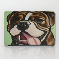 english bulldog iPad Cases featuring Mike the Old English Bulldog by Cheney Beshara