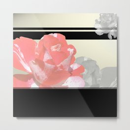 Pink & Grayscale Flower Collage Metal Print