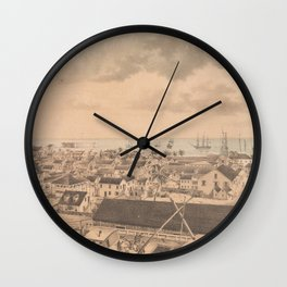 Vintage Pictorial Map of Key West FL (1855) Wall Clock