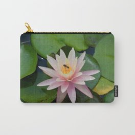 Bee with Pink Waterlily Carry-All Pouch