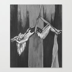 Hanging by a Thread Black and White Canvas Print