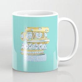 Golden Rings on Blue Coffee Mug