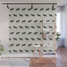 Moose Buffalo Plaid forest camping glamping outdoors forest bathing Wall Mural