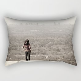 Women looking to downtown Atlanta, USA Rectangular Pillow