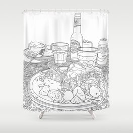Scottish Beef Steak & Guinness Pie - Line Art Shower Curtain