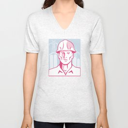 Construction Engineer Worker Hardhat Unisex V-Neck