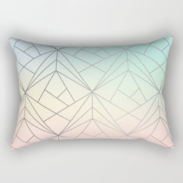 Geometric Silver Pattern on Pastel Gradient Rectangular Pillow