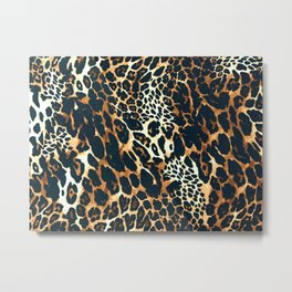 Fashion exotic leopard skin, animal print design hand painted illustration pattern Metal Print