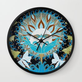 Journey of the Luna Moth Art Nouveau Mandala by Jeanne Fry Wall Clock
