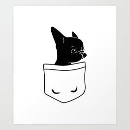 Frenchie in the Pocket French bulldog Art Print