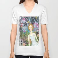 belle V-neck T-shirts featuring Belle by inara77
