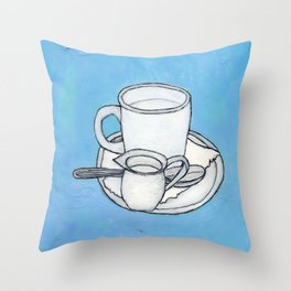 coffee and spoon Throw Pillow
